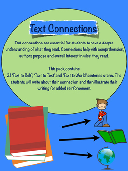Text connections sentence stems. 21 page pack of text to s