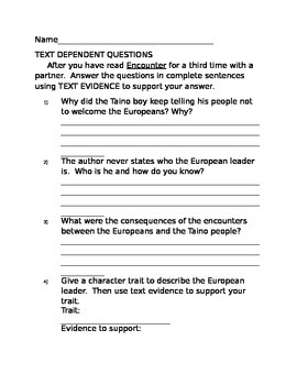 Text dependent questions for the story, Encounter