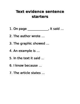 Text evidence sentence starters