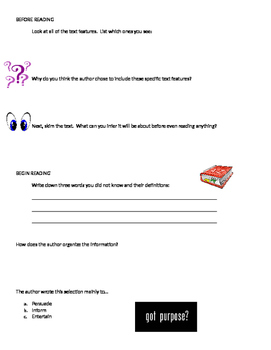 Text features/ inference/ author's purpose/ vocabulary Worksheet