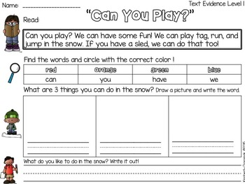 Text it: Differentiated Text Evidence Passages *Snow Theme