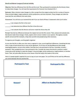 Text to Movie Common Core Comparison Essay Prompt, Graphic Organizer, and Rubric