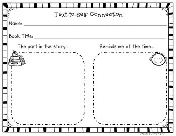 Text To Self Connection Worksheet By Camp Kindergarten Tpt
