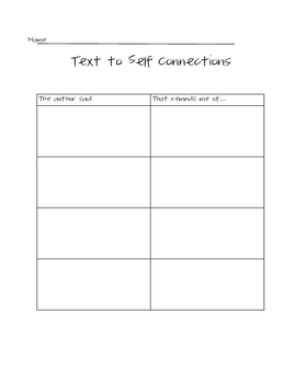 Text to Self Connection Worksheet