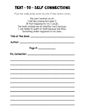 Text to Self Connections - Graphic Organizer Worksheet