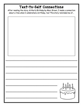 Text-to-Self Connections using the book Arthur's Birthday