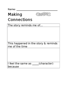 Text to Self connection graphic organizer