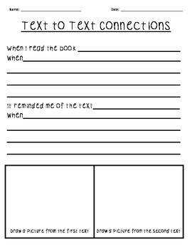 text to text connections worksheet by teaching two tpt. Black Bedroom Furniture Sets. Home Design Ideas