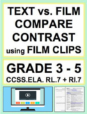 Text vs. Film Compare Contrast using Film Clips: NO PREP Lesson: RL.7 & RI.7