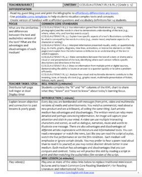 Text vs. Film Compare Contrast using Film Clips: NO PREP Lesson: RL.7 & RI.7