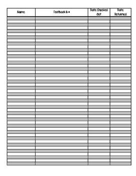 Textbook Checkout List Form