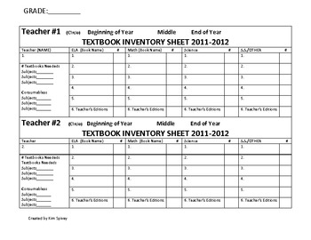 Textbook Inventory FormPrintable by Kim Spivey TpT