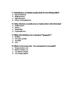 Textbook Parts Quiz