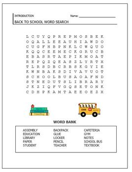 Textbook Scavenger Hunt/ Back to School Word Search - Editable