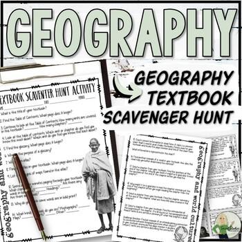 Geography Textbook Scavenger Hunt Worksheets & Task Cards