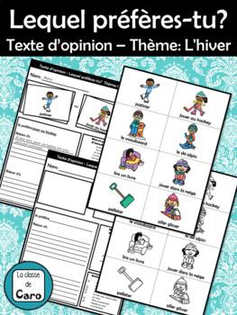 Texte d'opinion – Thème: L'hiver - Lequel préfères-tu?