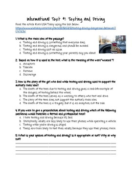 Texting While Driving Informational Text CCSS