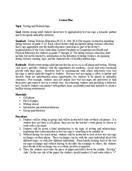 Texting and Relationships Lesson Plan