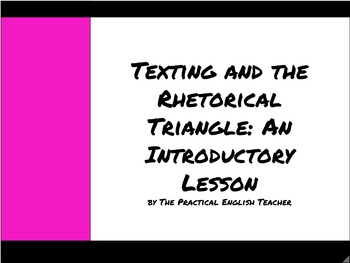 The Rhetorical Triangle: Introductory Lesson & Application Activity