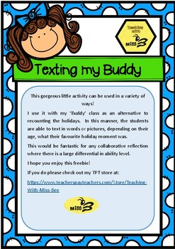 Texting my Buddy - A Collaborative Recount Activity