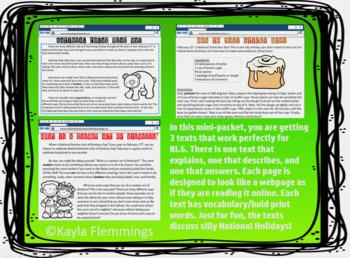 Texts RI.6 Answer, Explain, Describe Webpage-Style Texts National Holidays