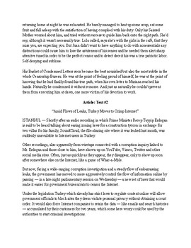 Texts for Common Core 9th and 10th Grade Literature Test (3B)