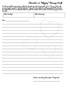 Textual Evidence Characterization Letter Writing Exercise Valentine Themed