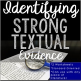 Textual Evidence Literature Worksheets