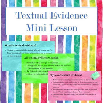 Textual Evidence Mini Lesson with Guided Notes