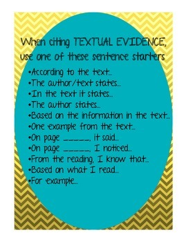 Textual Evidence Poster, Classroom Posting