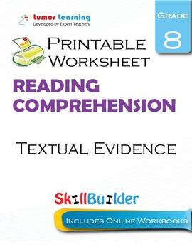 Textual Evidence Printable Worksheet, Grade 8