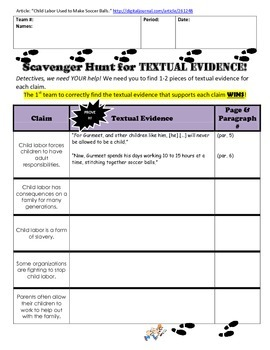 Textual Evidence Scavenger Hunt Graphic Organizer