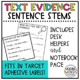 Textual Evidence Sentence Starter Desk Tags