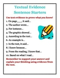 Textual Evidence Sentence Starters Poster