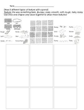 Texture Drawing Worksheet