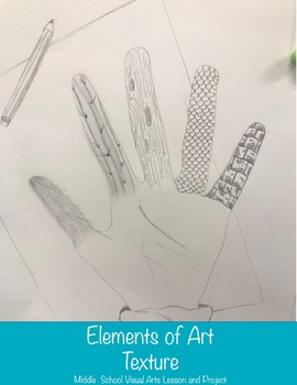 Texture Elements of Art Lesson with Textured Hand Project