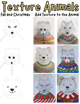 Texture Line Pattern: bear, raccoon, fox (animals in sweaters)
