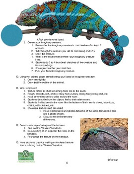 Texture Lizard or Imaginary Animal Visual Arts Lesson for 2d to 5th Grade