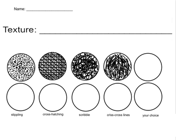 Texture Worksheet - Pen and Ink Techniques