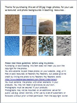 Texture and Photo Backgrounds for Teaching Resources