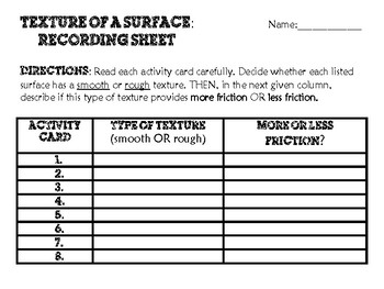 Texture of a Surface Activity Cards