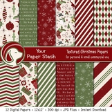 Textured Christmas Digital Papers with Ornaments, Santa, Snowflakes, & Stripes
