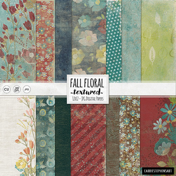 Textured, Cottage Chic Fall Floral Digital Paper