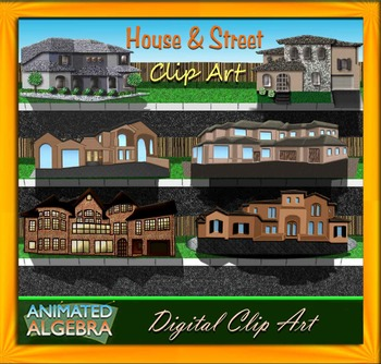 House and Street Clip Art with Textures