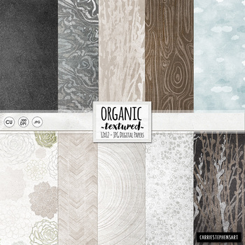 Textured Organic Digital Papers, Shabby Chic Natural Organic Patterns