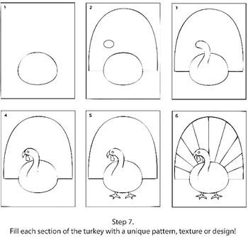Textured Turkeys Drawing Project
