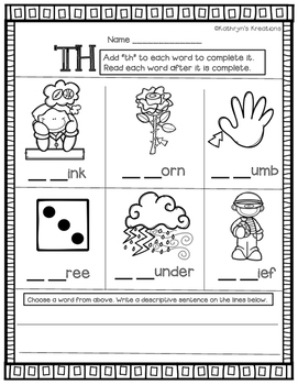 TH Digraph: Fill In The Blank