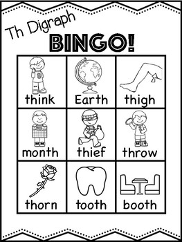 Th Digraph Bingo [10 playing cards]