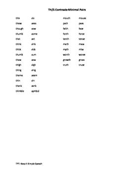 Th/S Minimal Pair List