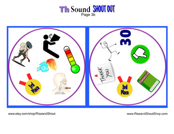 "Th Sound Matching Game SHOUT OUT; 31 Printable 3"" & 5"" cards"